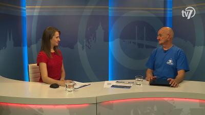 Tóth Bianka Nóra (b.) beszélgetett Szántó Tamással (j.) a 7.TV Aktuális című műsorában. Fotó: 7.TV