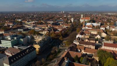 Békéscsaba belváros, drónfelvétel (behir.hu)