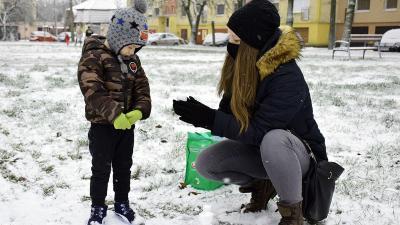 Az első hó 2021-ben, a Lencsési lakótelepen – Fotó: behir.hu/Such Tamás