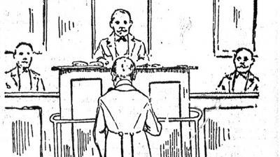 Robelly Jenő a bíróság előtt. (lapillusztráció 1904-ből; Nagykanizsai Friss Újság)