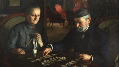 Vidovszky Béla Szüleim című alkotása a kiállítás képzőművészeti anyagának egyik  legérdekesebb darabja
