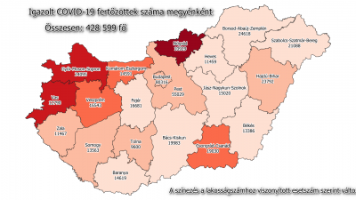 Koronavírus-térkép 2021.02.28.-án. Forrás: koronavirus.gov.hu