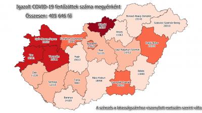 Koronavírus-térkép 2021.02.22.-én. Forrás: koronavirus.gov.hu