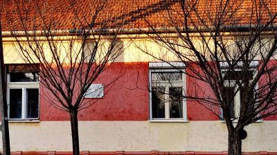 Áchim szülőháza az emléktáblával a Kastély utcában