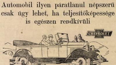 Reklámgrafika Chevrolet márkájú automobilhoz 1927-ből (Körösvidék)