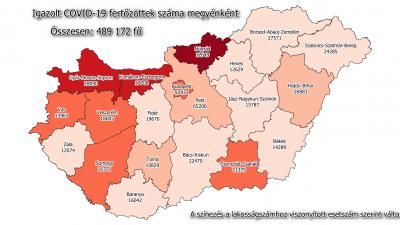 Koronavírus-térkép 2021.03.11.-én Forrás: koronavirus.gov.hu