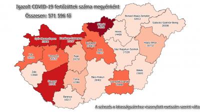 Koronavírus-térkép 2021.03.21.-én. Forrás: koronavirus.gov.hu