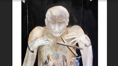Penyaska László: A bábjátékos (Méret: 80x100 cm Technika: akril, farost Alkotás éve: 1991)