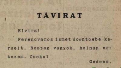 Egy távirat a múltból. (Forrás: helytortenet.com)