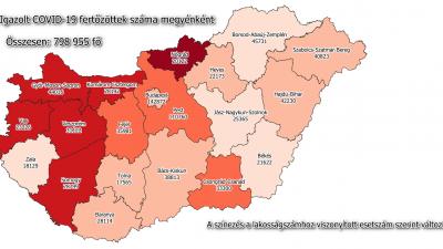 Koronavírus-térkép 2021.05.18.-án. Forrás: koronavirus.gov.hu