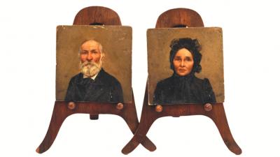 Oskó Lajos: Miniatúra pár (1900 körül; Munkácsy Mihály Múzeum)