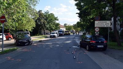 Baleset a békési Rákóczi utcában. (Forrás: police.hu)