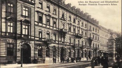 A Hotel Trautwein, Karlsbad, ahol Rosenthalné és családja megszállt 1900-ban (Ebay; sorszám: AE2012)