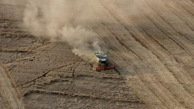 A sárkányrepülőből készített fotón a búzát aratják Tolna megye Sárköz tájegységén (Fotó: MTI)
