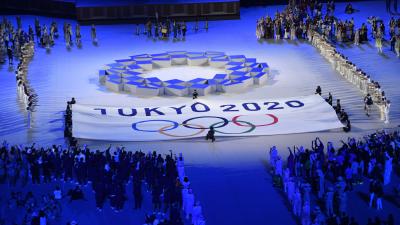 A XXXII. nyári olimpiai játékok nyitóünnepsége a tokiói Olimpiai Stadionban 2021. július 23-án. A világméretű koronavírus-járvány miatt 2021-re halasztották a 2020-as tokiói nyári olimpiát. MTI/Czeglédi Zsolt
