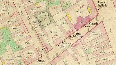 Csaba kataszteri térképe 1884-ben (részlet). A képen az egykori Frnda-féle ház és környezete látható (Mapire - Arcanum)